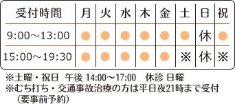 月曜~土曜、祝日 9:00~13:00 15:00~19:30 土曜、祝日午後 14:00~17:00 休診日 日曜